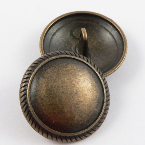 18mm Brass Metal Shank Button With A Patterned Rim