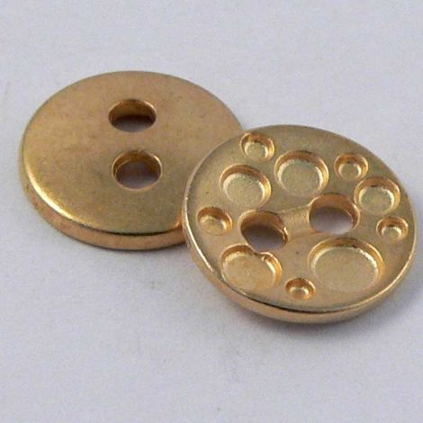 11mm  Contemporary Gold Metal 2 Hole Button