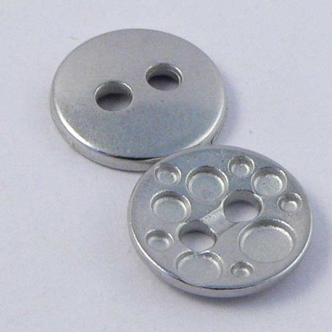 11mm  Contemporary Matt Silver Metal 2 Hole Button