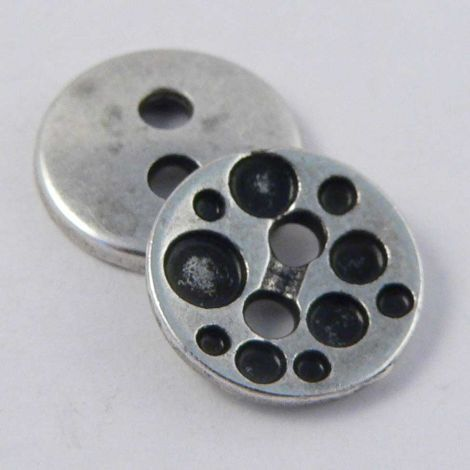 11mm  Contemporary Silver and Gunmetal Metal 2 Hole Button