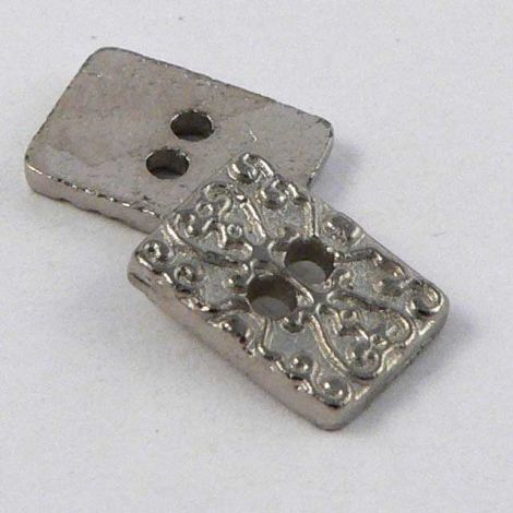10mm Rectangular Silver Metal 2 Hole Button