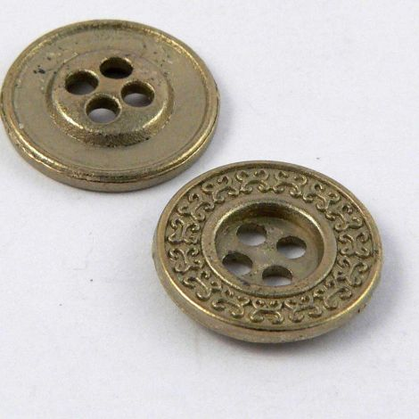 13mm Ornate Pale Brass Metal 4 Hole Button