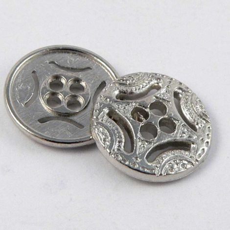 13mm Ornate Silver Metal 4 Hole Button