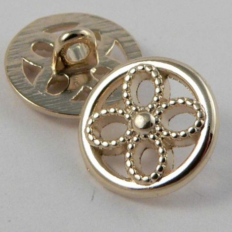 11mm Pale Gold Metal Floral Shank Button