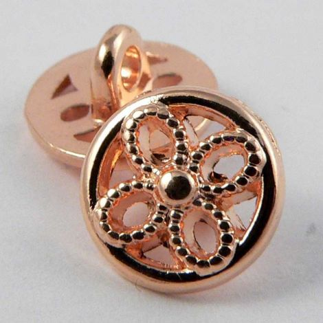 11mm Rose Gold Metal Floral Shank Button