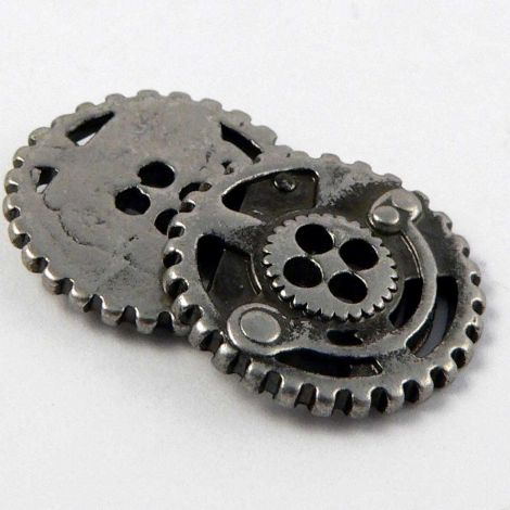 15mm Pewter Metal Steam-Punk Style 4 Hole Button