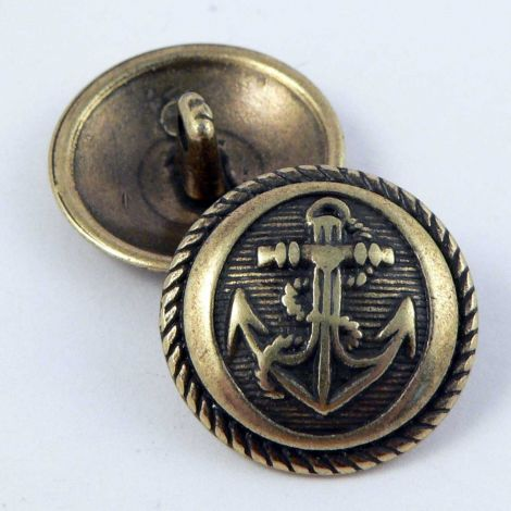 15mm Old Gold Anchor Metal Shank Suit Button