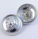 30mm Silver Lion Head Metal Shank Coat Button