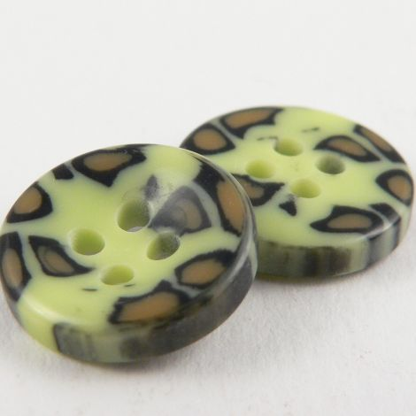 17mm Green Leopard Print Sewing 4 Hole Button