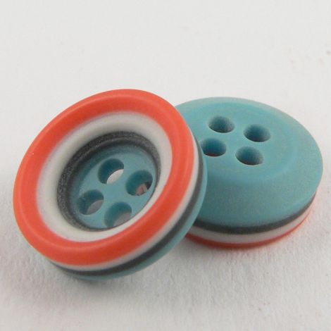 11mm Coral Striped Rubber 4 Hole Button