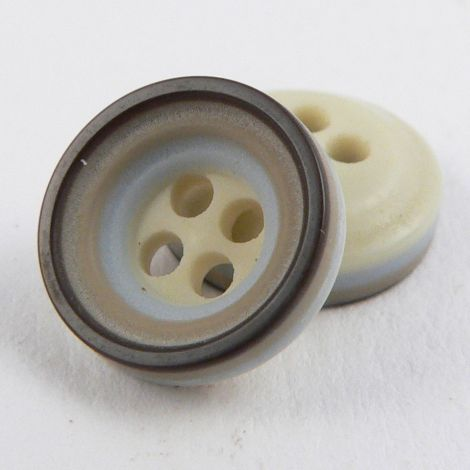 11mm Brown/Grey/Taupe Rubber 4 Hole Button