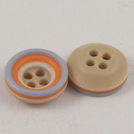 11mm Blue Beige Orange & White Rubber 4 Hole Button