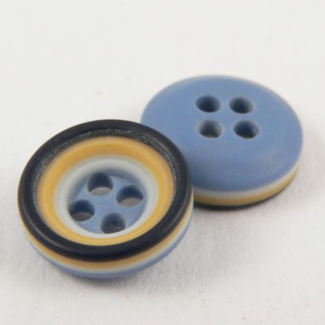 11mm Blue Mustard Black & White Rubber 4 Hole Button