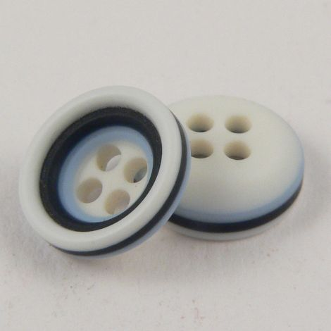 11mm Pale Blue Navy & White Rubber 4 Hole Button