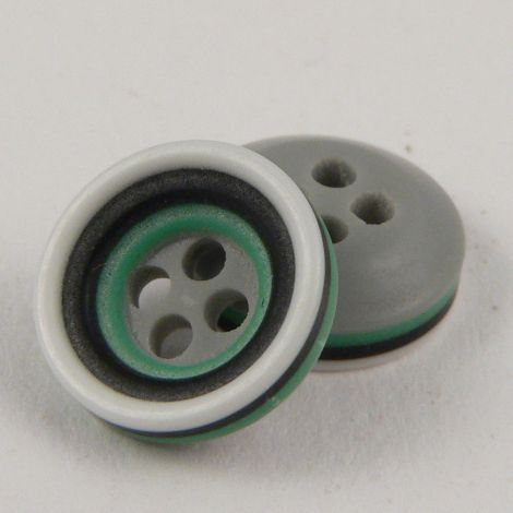 11mm Grey Black Green & White Rubber 4 Hole Button