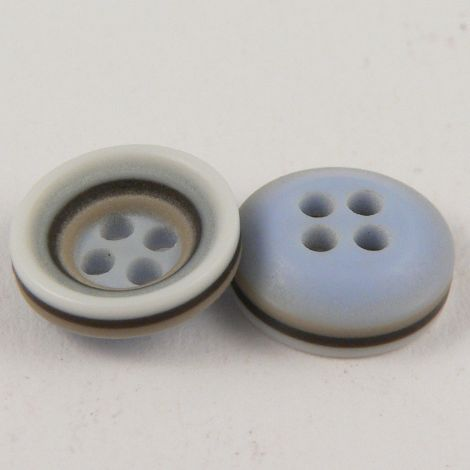 11mm Blue Coffee Brown & White Rubber 4 Hole Button