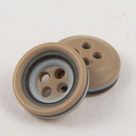 11mm Grey Caramel & Brown Rubber 4 Hole Button