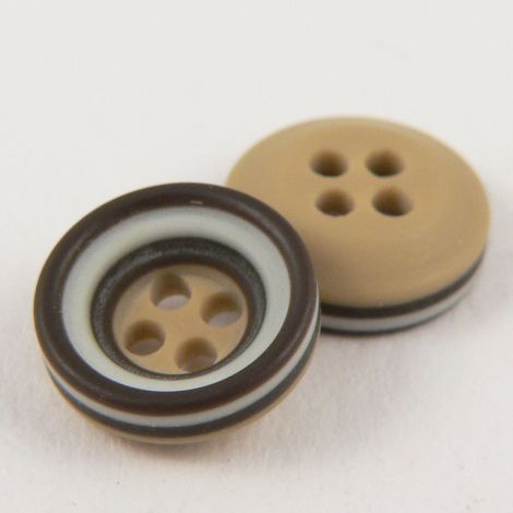 11mm Chocolate Brown Grey & Caramel Rubber 4 Hole Button