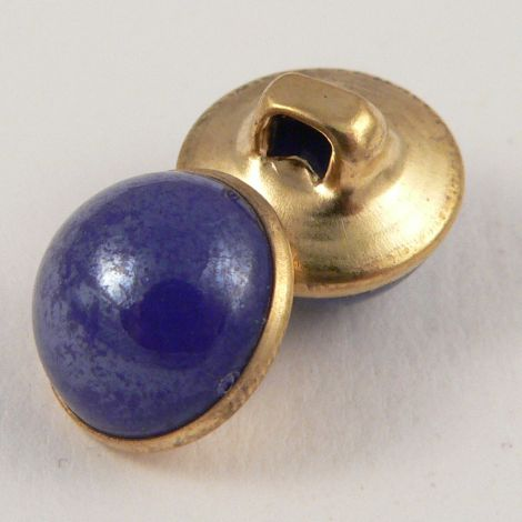 10mm Blue/Gold Domed Shank Sewing Button