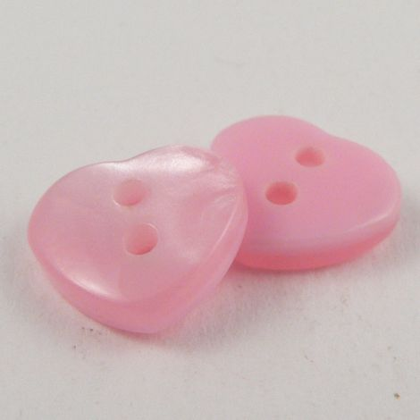 11mm Pearl Pale Pink Plastic Heart 2 Hole Sewing Button