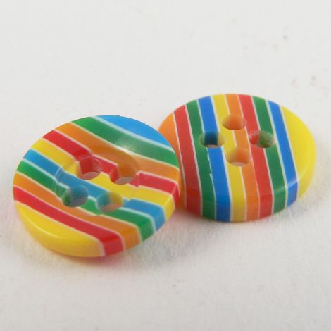 11mm Shiny Striped Multicoloured 4 Hole Button