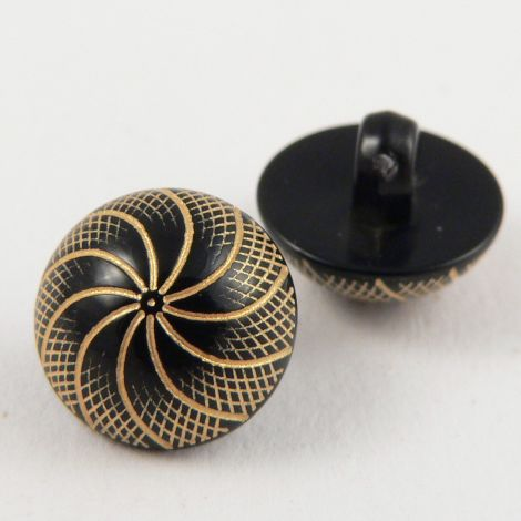 11mm Black & Gold Decorative Shank Sewing Button