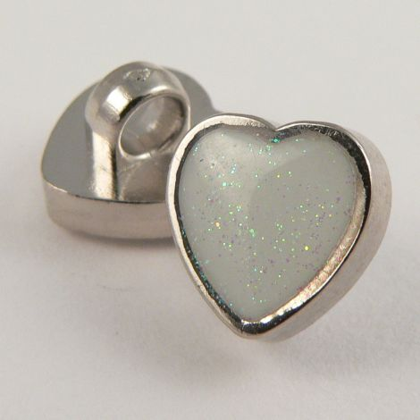 11mm Silver Heart Sewing Shank Button Filled With White Glitter