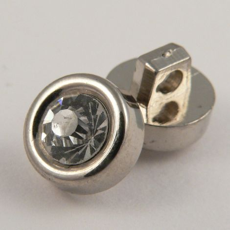 11mm Silver Encased Shank Button Filled With A Clear Crystal