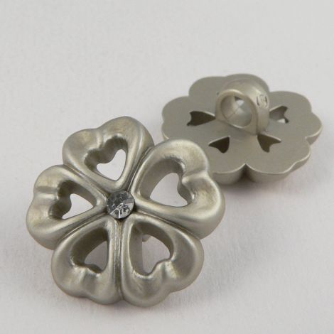 21mm Polyester Silver/Diamante Flower Shank Button