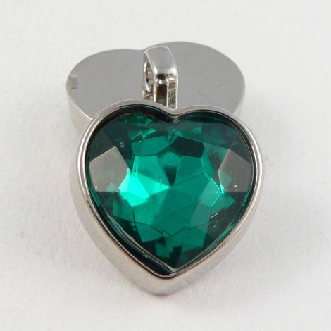 17mm Dark Green Faceted Crystal Heart Shank Button