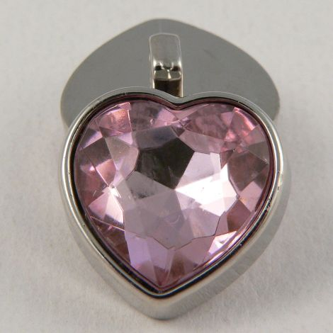 17mm Pink Crystal Heart Shank Button
