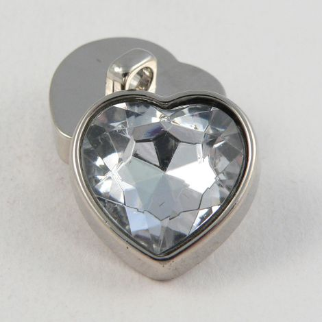 17mm Clear Crystal Heart Shank Button