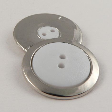 18mm Elegant Silver & White 2 Hole Suit Button