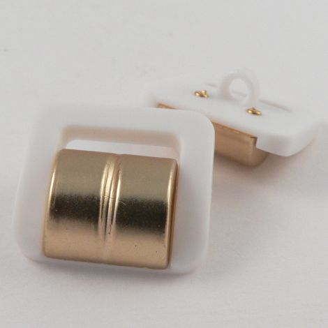 16mm White/Gold Buckle Shank Button