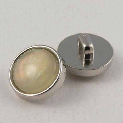 12mm Pearl Marble Shank Sewing Button With Silver Rim