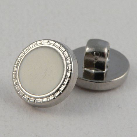 11mm White Shank Sewing Button With Silver Decorative Rim