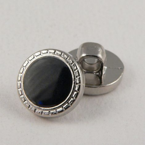 11mm Black Shank Sewing Button With Silver Decorative Rim
