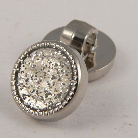 10mm Silver Glitter Shank Button With Silver Decorative Rim
