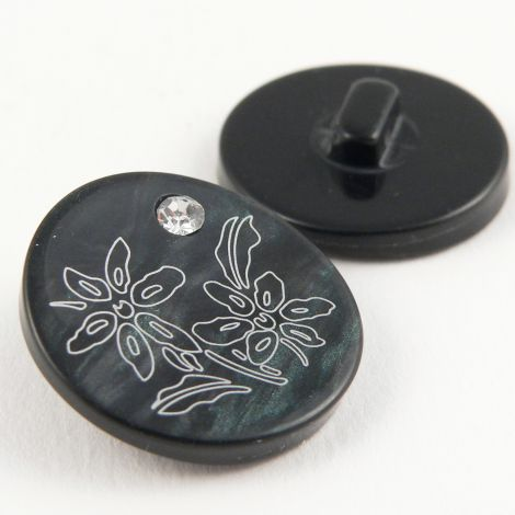 17mm Black & White Shank Sewing Button Set With A Diamante
