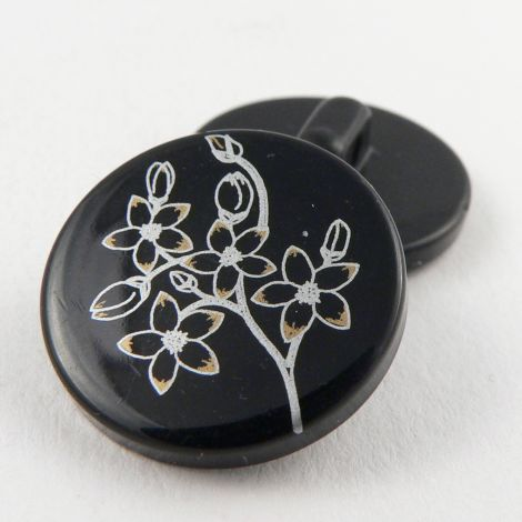 22mm Black Shank Sewing Button With A Silver And Gold Floral Design