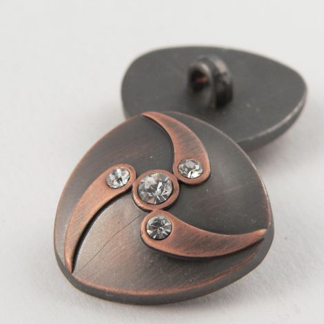 23mm Brushed Copper Contemporary/Diamante Shank Button