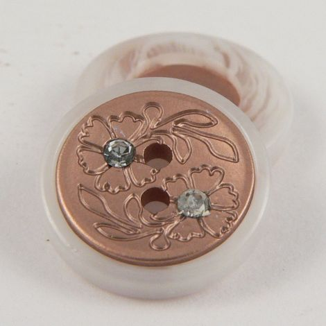 15mm Copper Contemporary 2 Hole Button With Diamantes