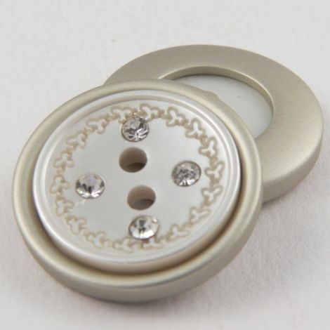 15mm Ivory/Silver Contemporary 2 Hole Button With Diamantes
