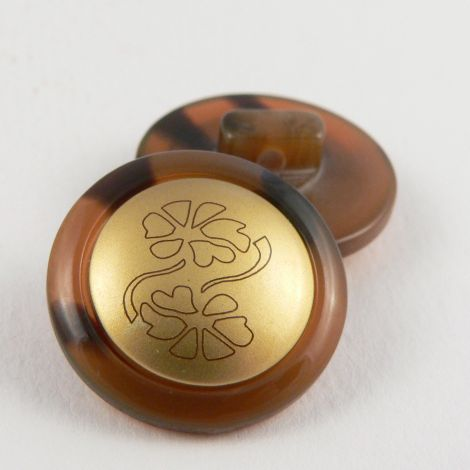 18mm Horn Style Shank Sewing Button With A Gold Middle