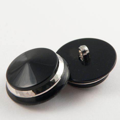 20mm Chunky Black/Silver Shank Sewing Button