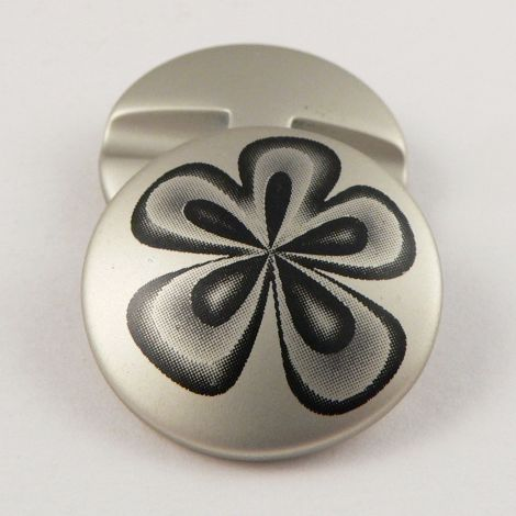 18mm Silver Flower Print Shank Sewing Button