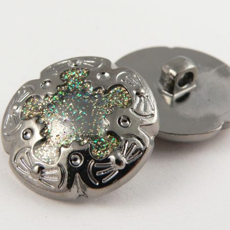 18mm Silver Glittery Decorative Shank Sewing Button
