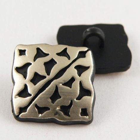 13mm Square Ornate Black And Gold Shank Suit Button