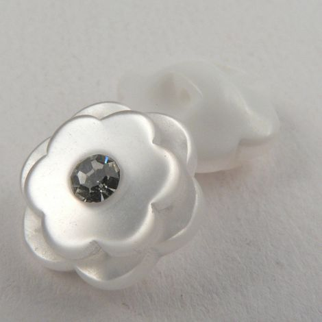 15mm White Double Flower Plastic/Diamante Shank Button