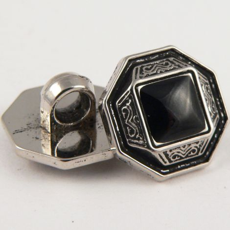 20mm Black/Silver Antique Style Octagon Ornate Shank Sewing Button